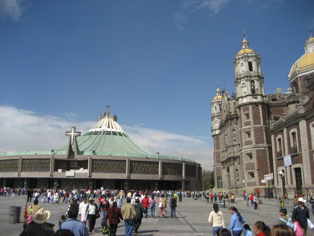 New Basilica (Left) next to the Old Basilica (Leaning to the Left)